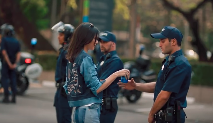 Pepsi ad with Kendall Jenner - shock advertising example
