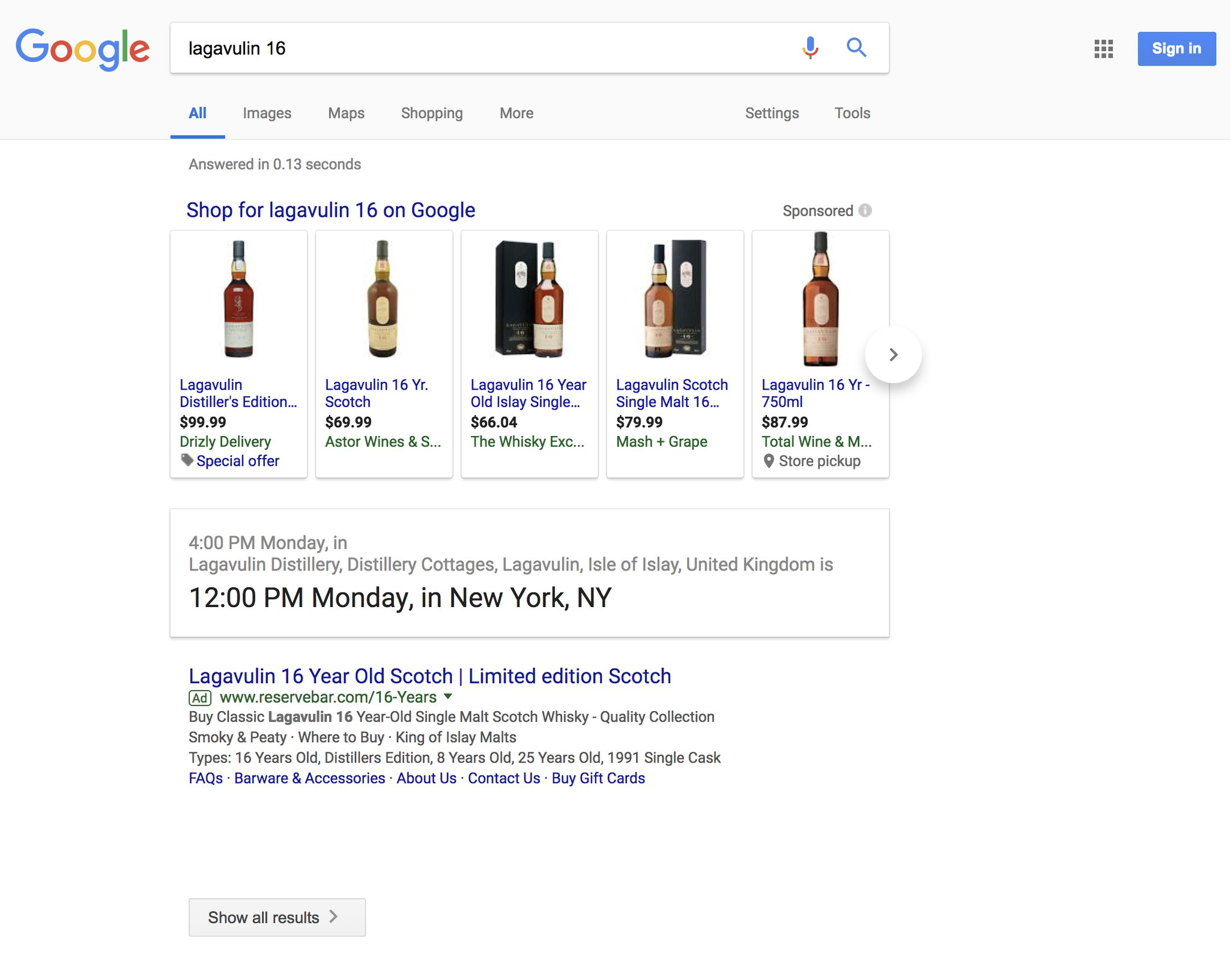 Screen grab of Google search for lagavulin 16 with no organic links