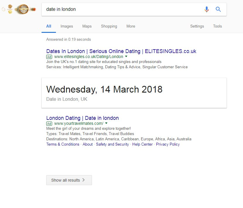 Screen grab of Google search results for date in london showing no organic results
