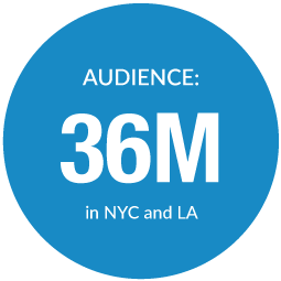 Audience of 36 million in NYC and LA