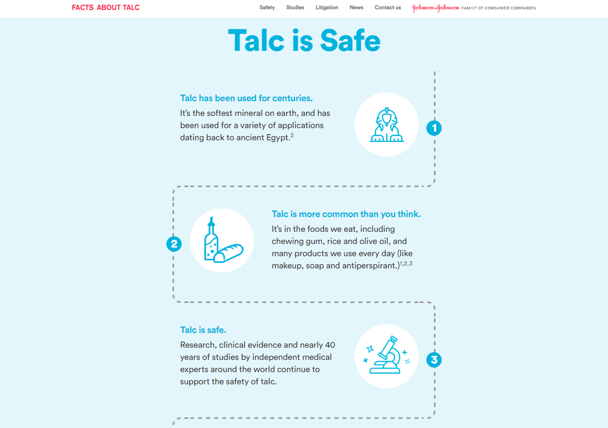 Johnson and Johnson Facts About Talc Microsite