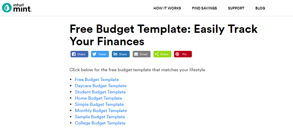 Budget templates from Mint