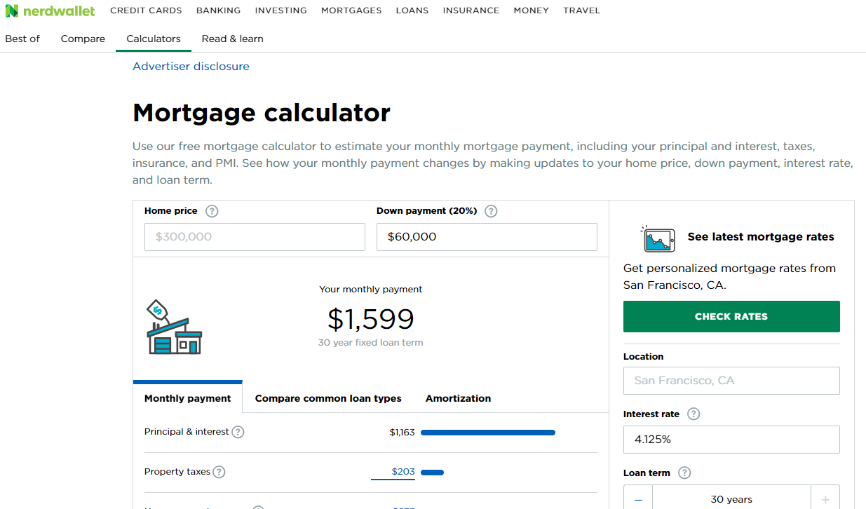 The NerdWallet Mortgage Calculator
