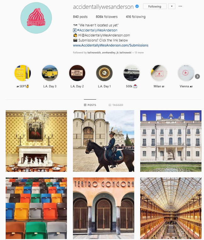 accidentally wes anderson instagram