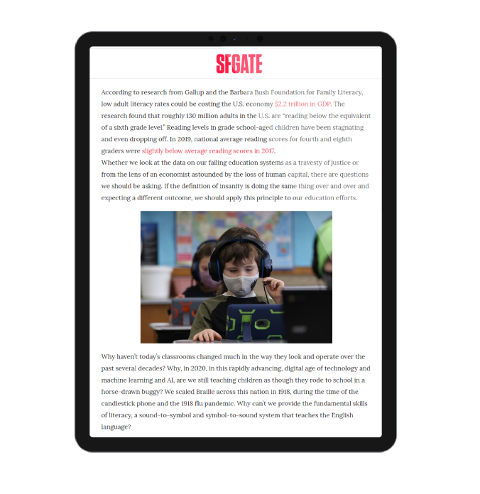 Literacy Matters article on SF Gate